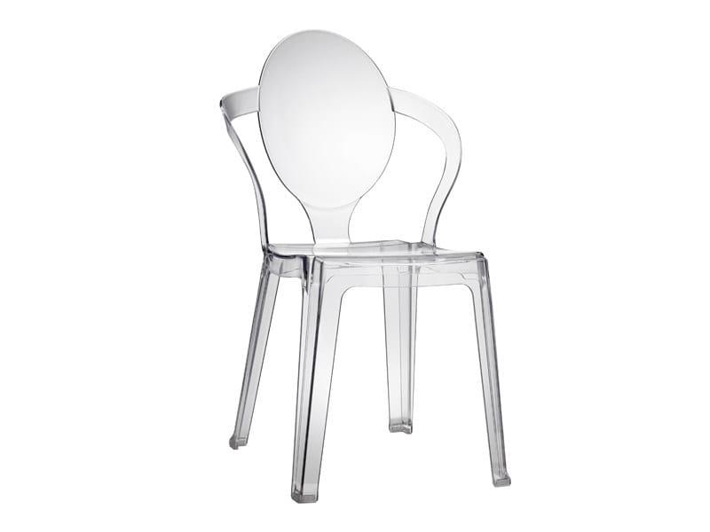 Sedia impilabile in policarbonato con braccioli SPOON by SCAB DESIGN