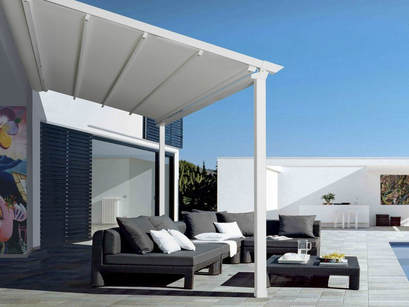 Wall-mounted pergola with sliding cover R140 PERGOSMALL by BT Group