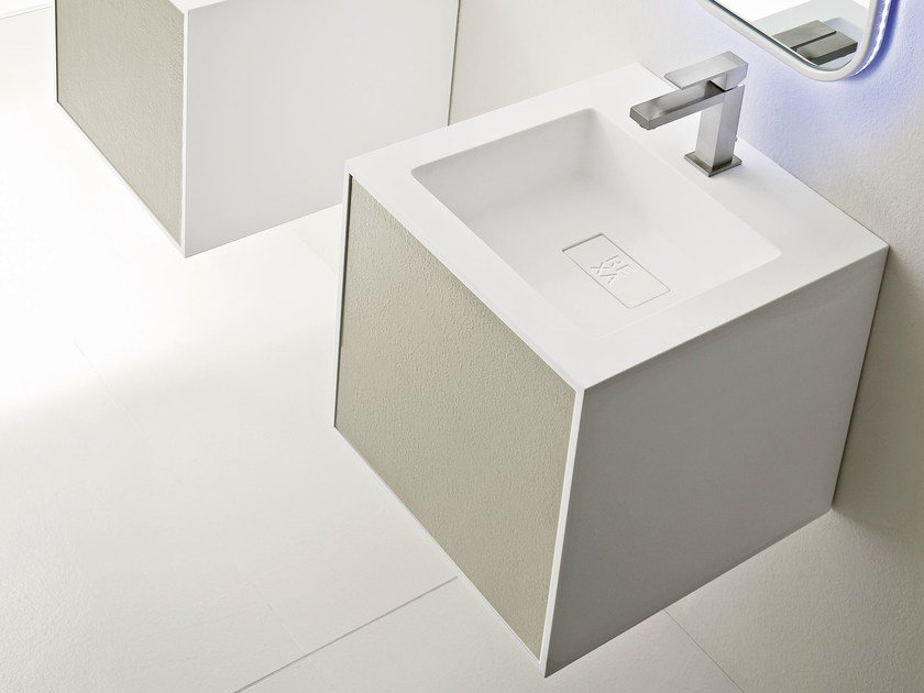 Square wall-mounted washbasin UNICO with drawer by Rexa Design