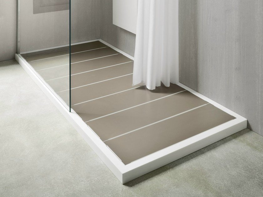 Slatted Corian® shower tray UNICO by Rexa Design