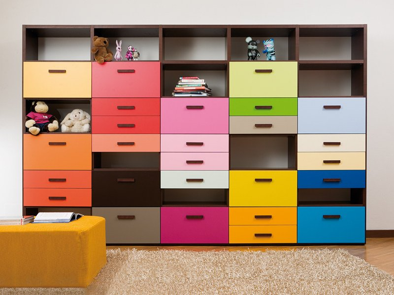 Lacquered kids bookcase with drawers 7008 | Kids bookcase by dearkids