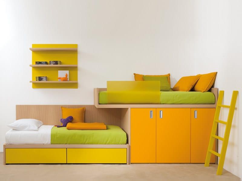 Loft wooden bed 7050 | Bed by dearkids