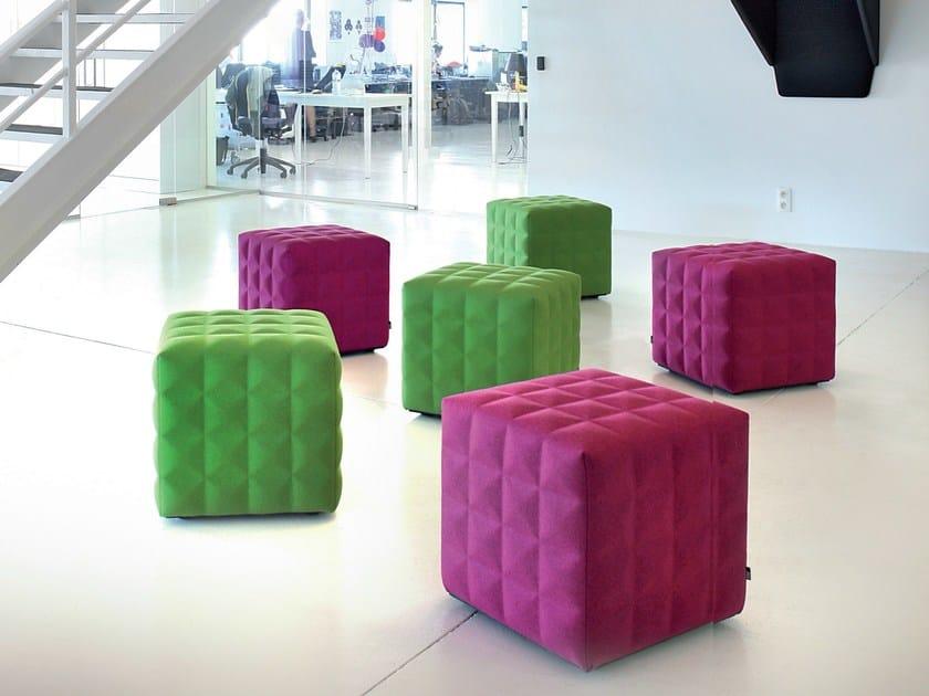 Upholstered felt pouf BUZZICUBE 3D by BuzziSpace