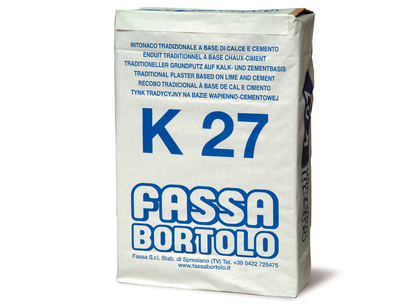 Hydraulic and hydrated lime based plaster K 27 by FASSA