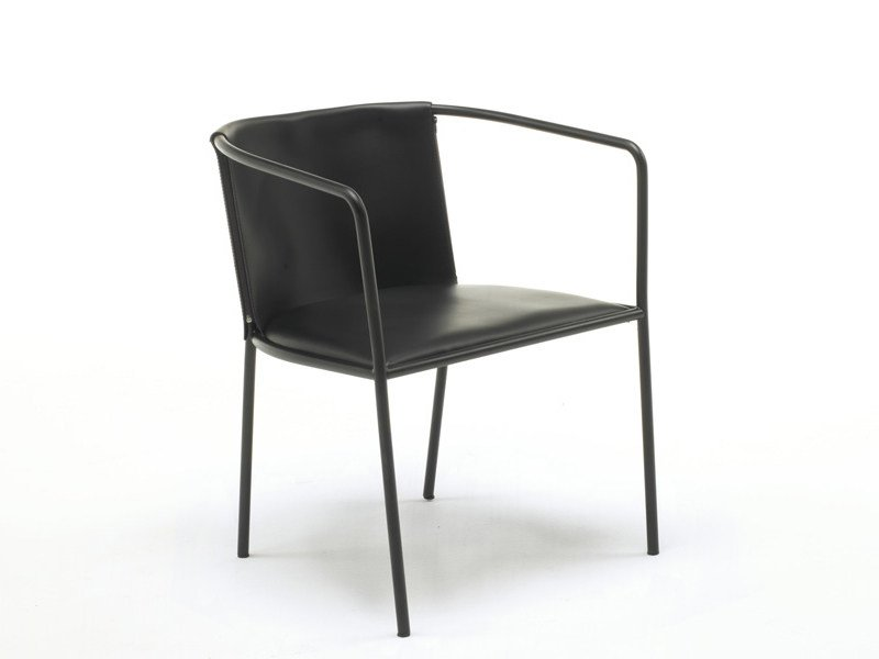 Leather chair with armrests MAJA D. by Living Divani