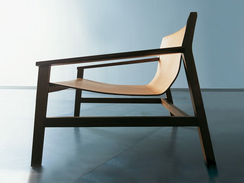 Tanned leather armchair with armrests SDRAIO by Living Divani