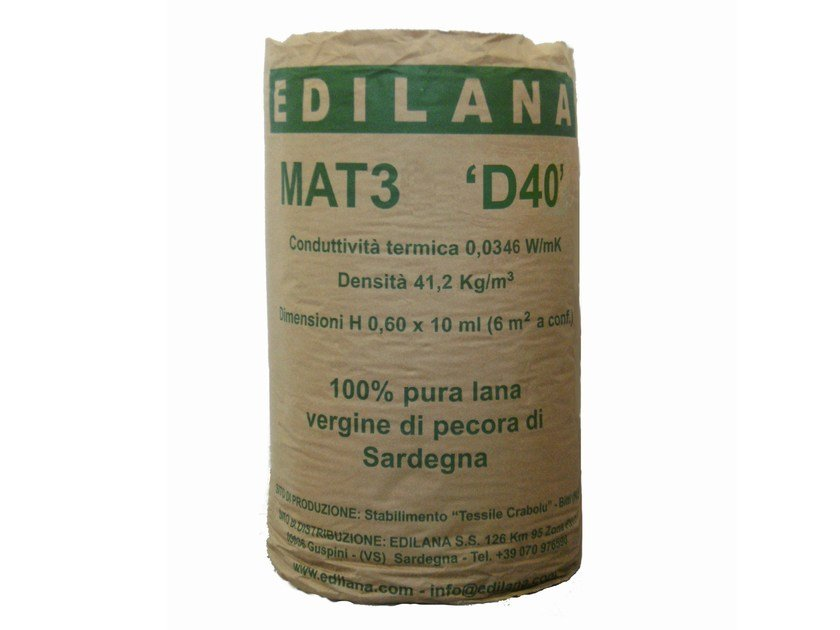Natural insulating felt and panel for sustainable building EDILANA MAT3 D40 by EDILANA