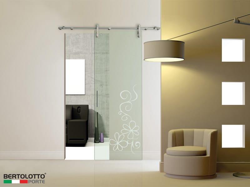 Porta scorrevole in vetro senza telaio natura 3241 decoro pri bertolotto porte - Telaio porta scorrevole ...
