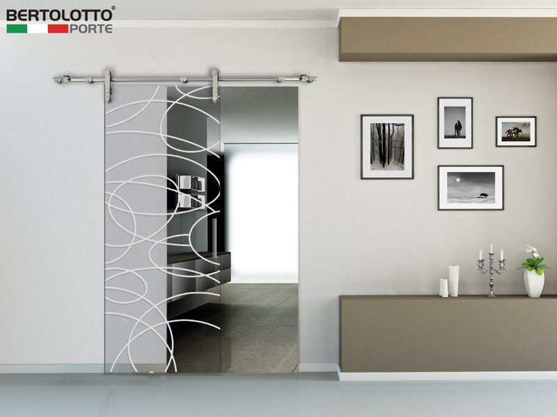 Glass sliding door without frame NATURA - 3235 - DECORO MISTRAL by Bertolotto Porte