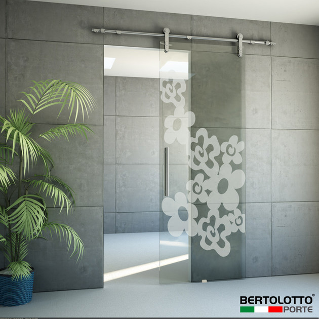 Glass sliding door without frame NATURA - 3248 - DECORO TROLIUS by Bertolotto Porte