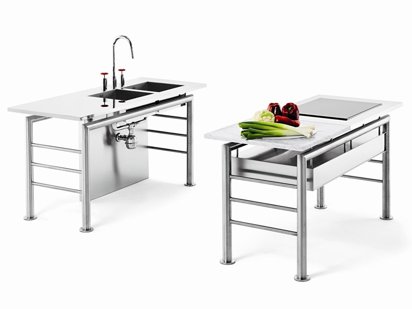 Modulo Cucina Freestanding In Acciaio Axis Ponte By Opinion Ciatti Design Bruno Pozzi