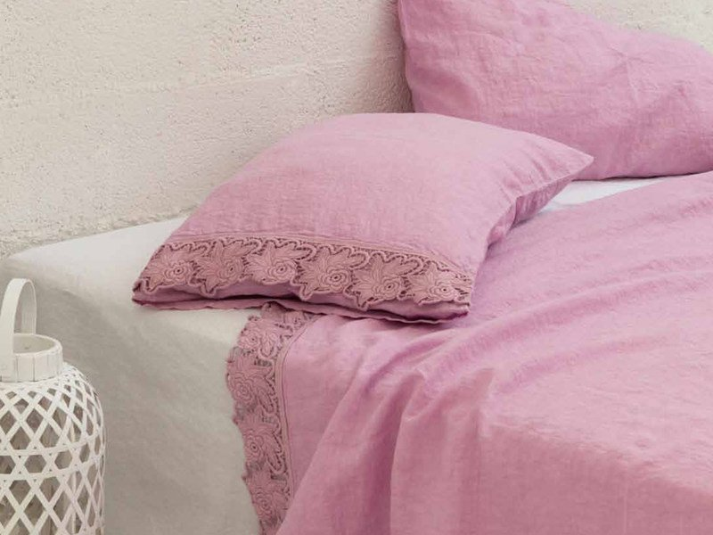 Embroidered linen bedding set ROSE | Bedding set by LA FABBRICA DEL LINO