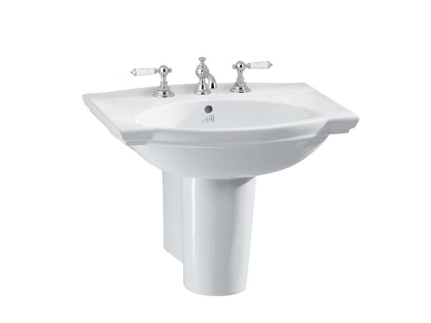 Wall-mounted porcelain washbasin DAMEA | Wall-mounted washbasin by GENTRY HOME
