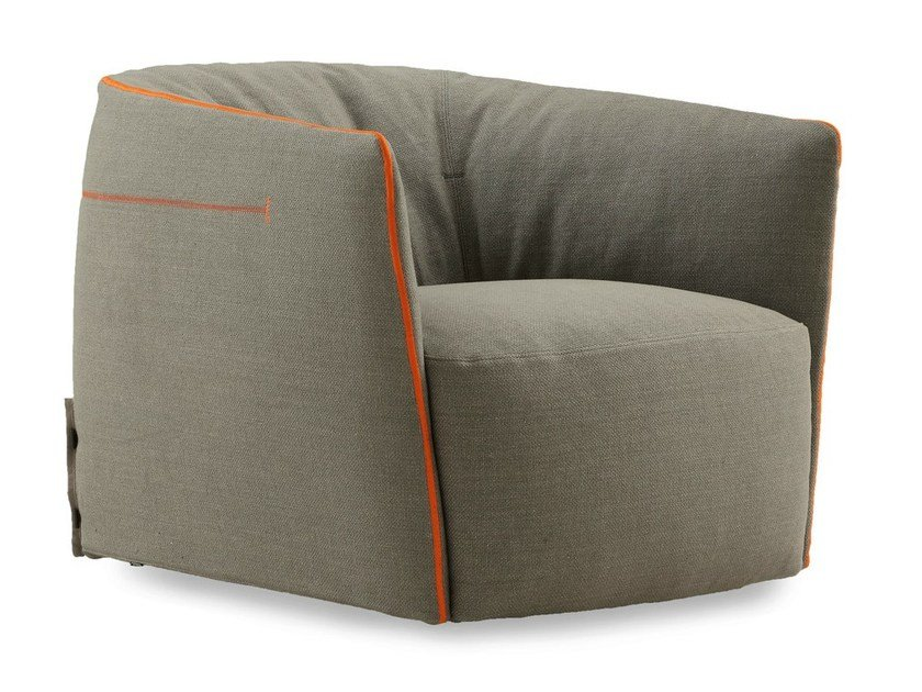 Fabric armchair with removable cover SANTA MONICA | Fabric armchair by poliform