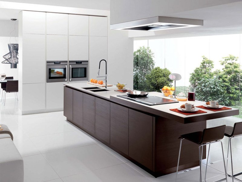 Linear kitchen with island without handles FILOVANITY TOP by Euromobil