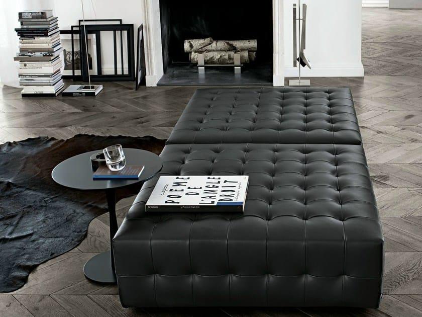 Upholstered leather pouf GANT by poliform