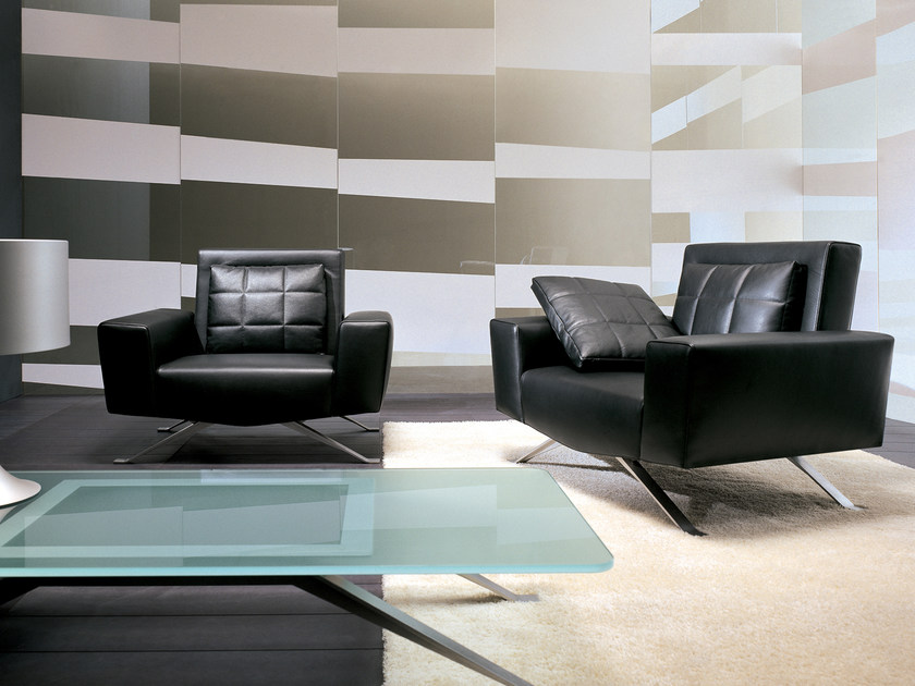 Upholstered leather armchair with armrests APOLLO | Armchair by i 4 Mariani