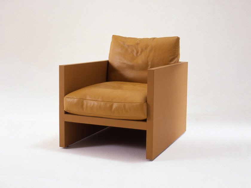 Upholstered tanned leather armchair with armrests BRICK | Armchair by i 4 Mariani