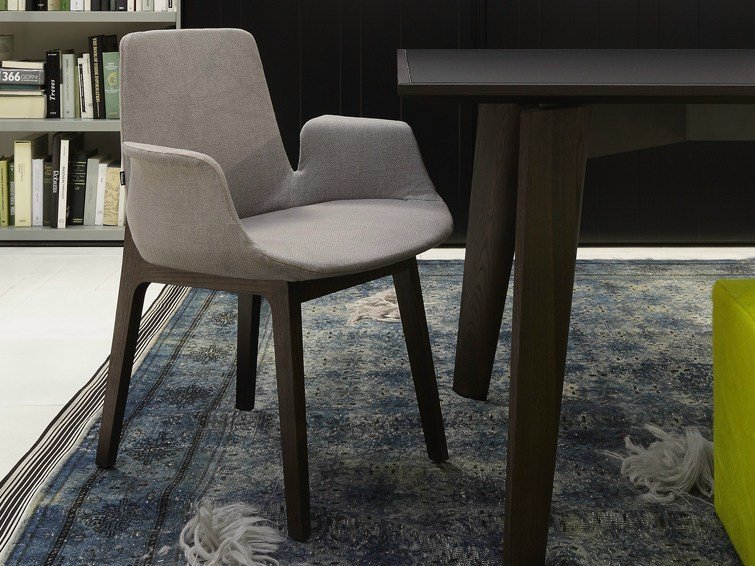 Fabric chair with armrests VENTURA   Chair with armrests by poliform