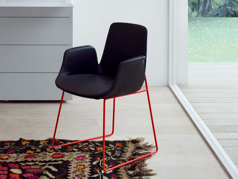 Sled base leather chair with armrests VENTURA   Chair with armrests by poliform