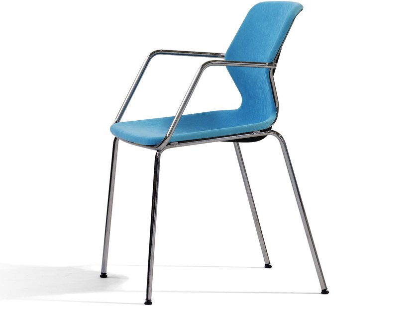 Stackable fabric chair with armrests BOO | Chair with armrests by Blå Station