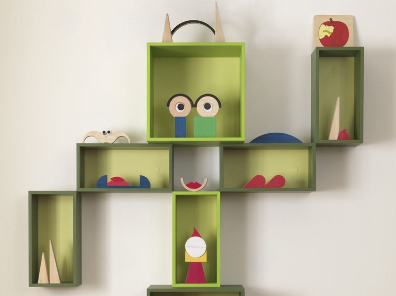 Open lacquered modular kids bookcase EASY BOX by dearkids