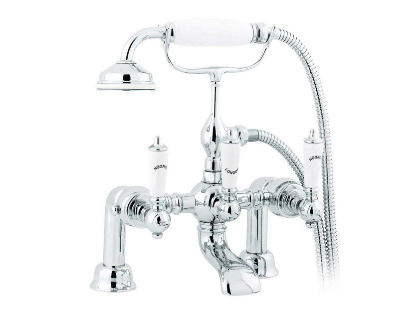Chrome-plated wall-mounted bathtub tap with hand shower BERKELEY   deck mounted bath mixer by GENTRY HOME