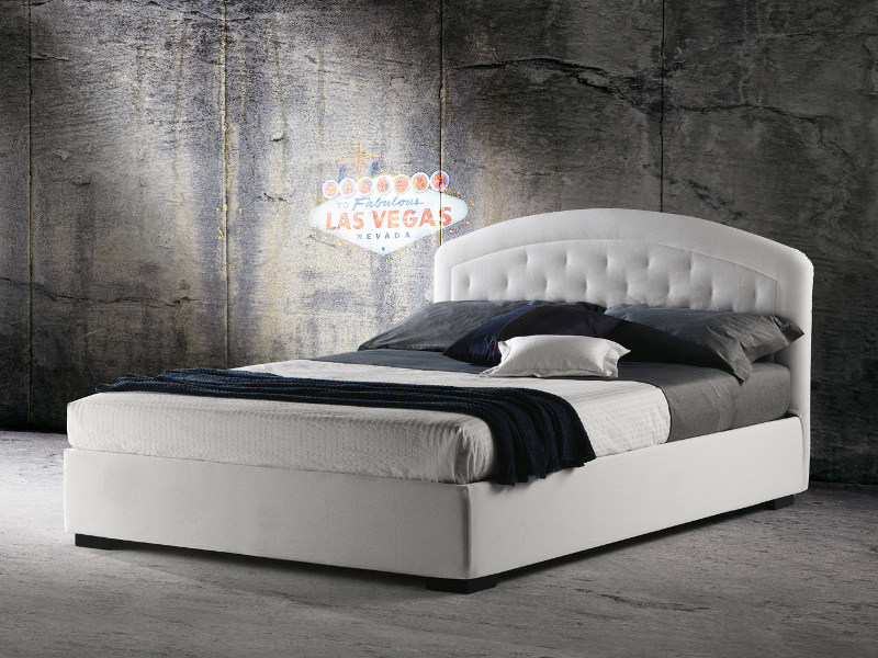 Fabric bed with removable cover with upholstered headboard MOOREA by Milano Bedding