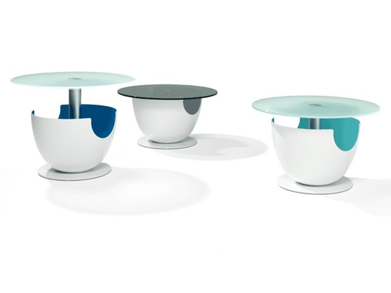 Height-adjustable round glass coffee table CALIMO by Ronald Schmitt