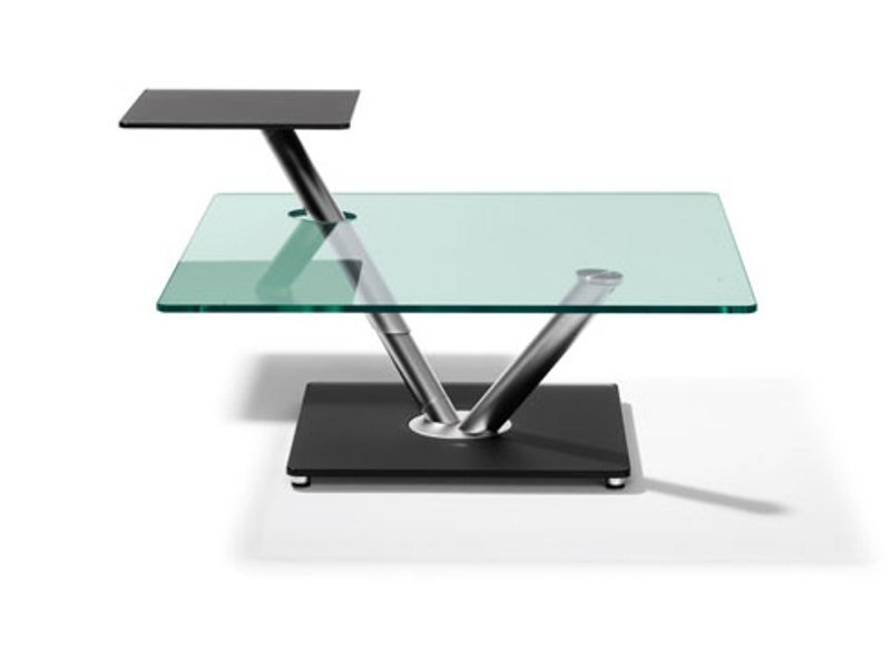 Adjustable square glass coffee table SATURN by Ronald Schmitt