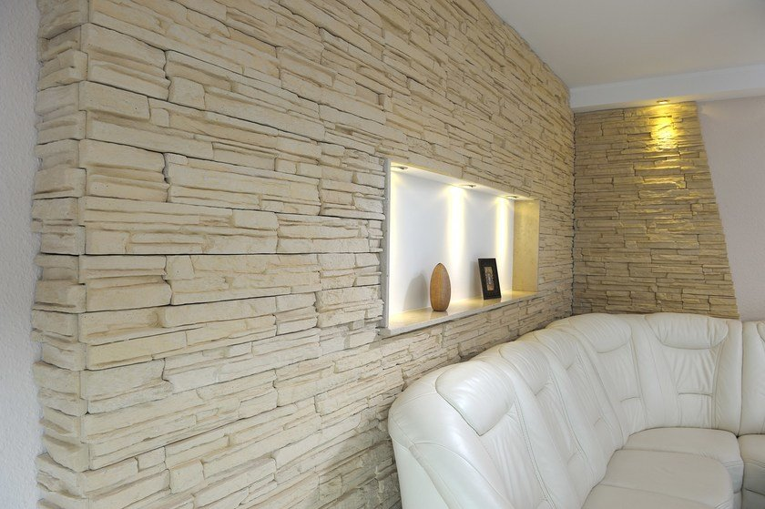 Reconstructed stone wall tiles murok montana by weser for Isolation interieur garage