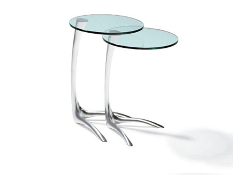 Tavolini In Vetro E Acciaio : Basi in vetro curvato per tavolo in vetro tao
