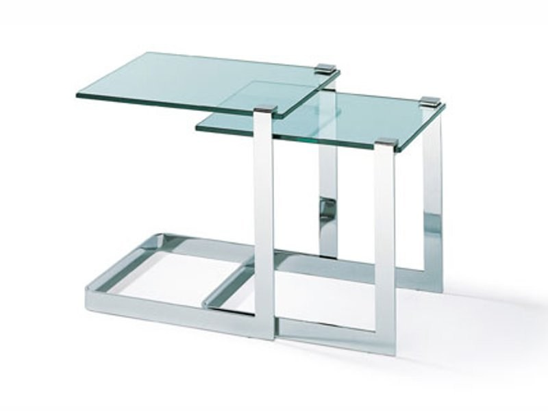 Stackable glass and steel coffee table K 835 | Coffee table by Ronald Schmitt