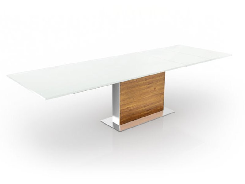 Extending rectangular wooden dining table TOTO by Ronald Schmitt