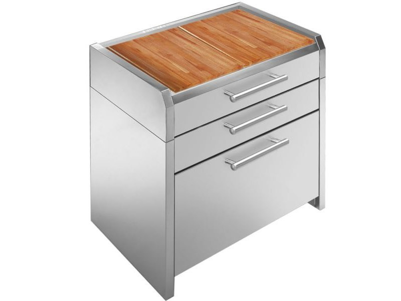 Stainless steel and wood kitchen unit SINTESI | Kitchen unit by Steel