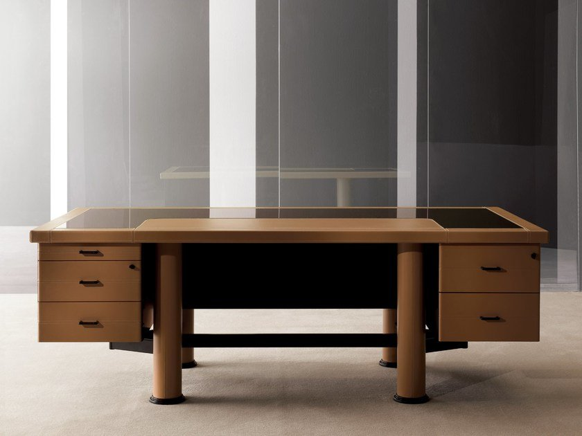 Tanned leather executive desk with drawers SUMMIT   Executive desk by i 4 Mariani