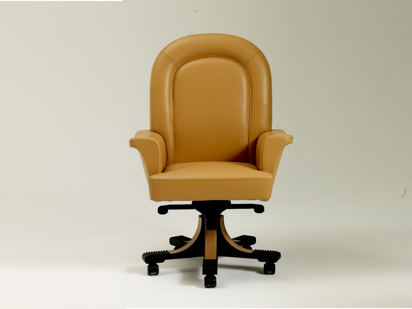 Height-adjustable swivel leather executive chair with armrests with casters SUMMIT   Executive chair by i 4 Mariani