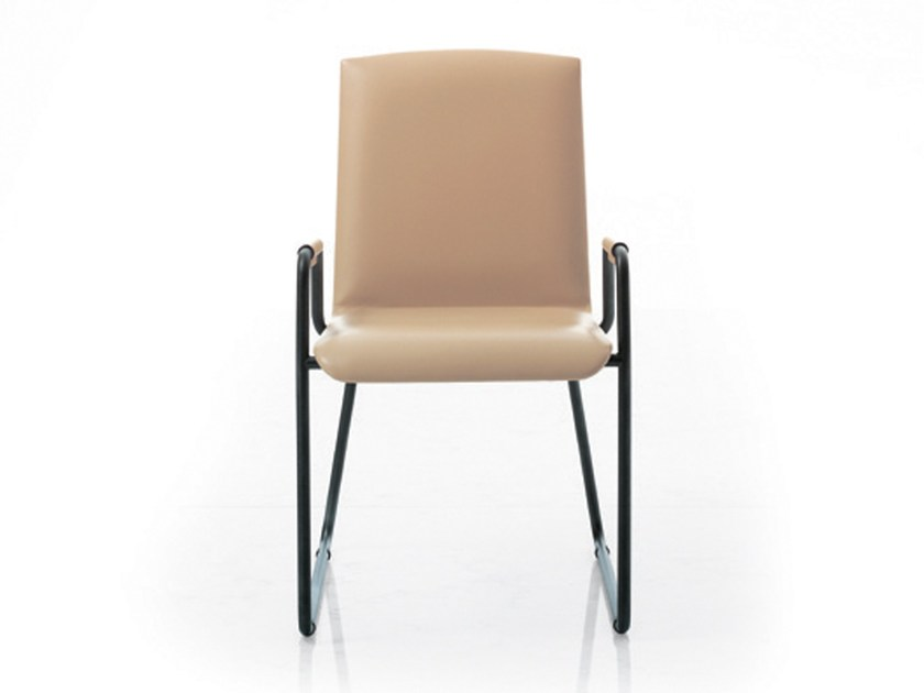 Sled base leather visitor's chair with Armrests WING | Visitor's chair with Armrests by i 4 Mariani