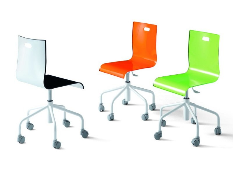 Methacrylate chair with casters BICOLOR   Chair by Zalf