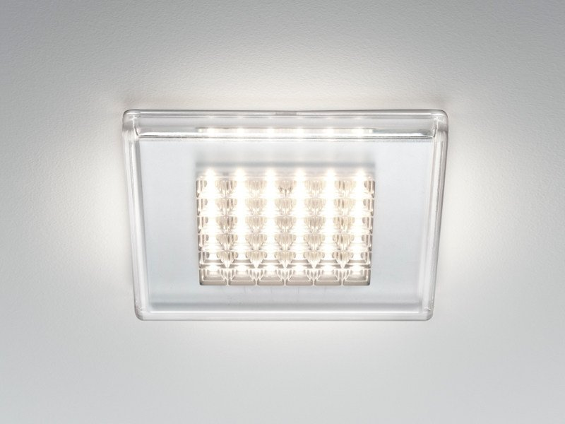 LED polycarbonate ceiling light QUADRILED by Fabbian