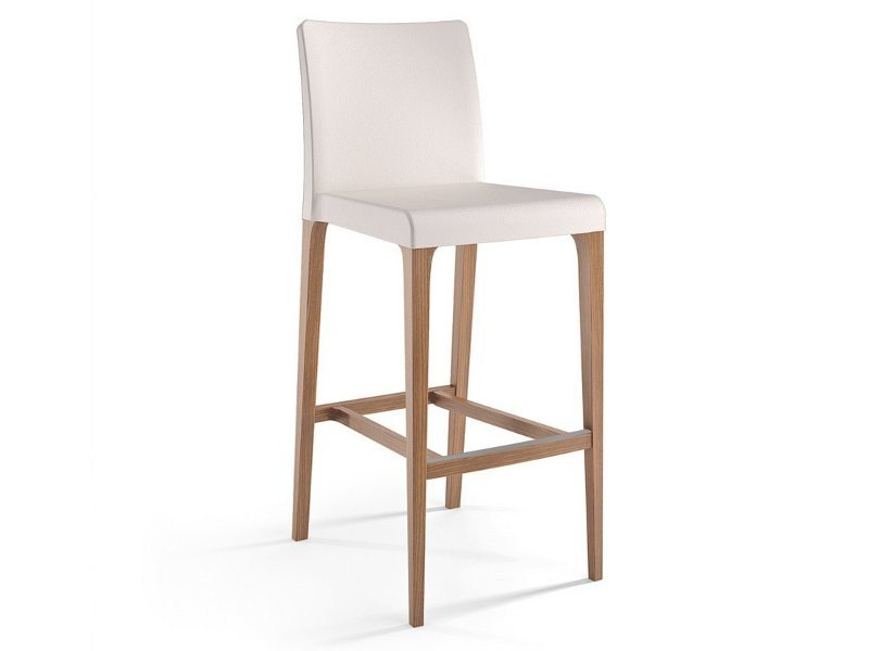High leather stool with back ZOE | Stool by Cizeta L'Abbate