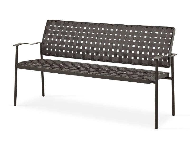 Fabric garden bench with armrests NIZZA | Garden bench by FISCHER MÖBEL