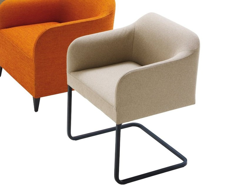 Cantilever fabric chair with armrests LUCA SOFT by Ligne Roset