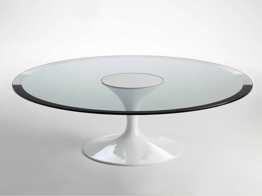 Round glass and aluminium coffee table SA59/6   Coffee table by Matrix International