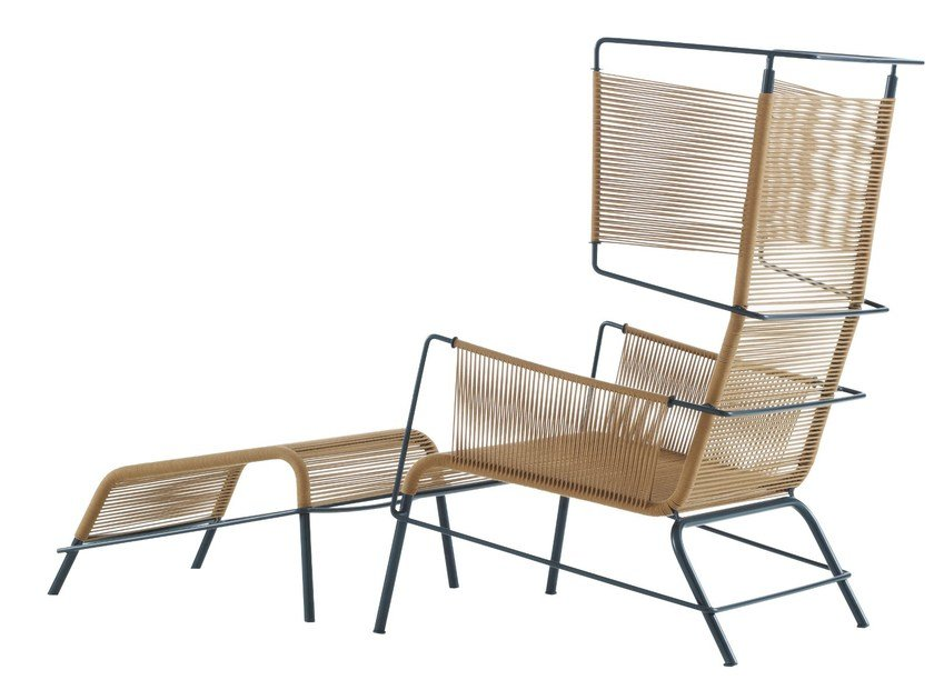Garden armchair with footstool FIFTY by Ligne Roset