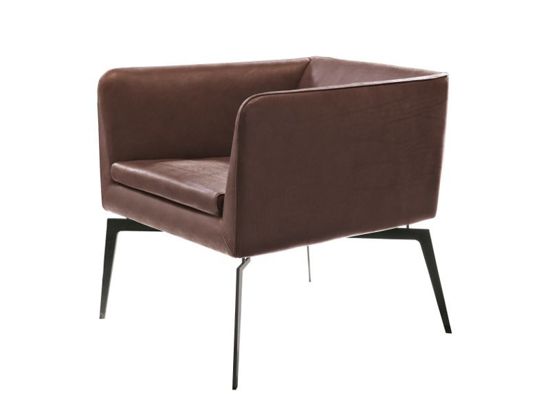 Leather armchair with armrests PADY by ALIVAR