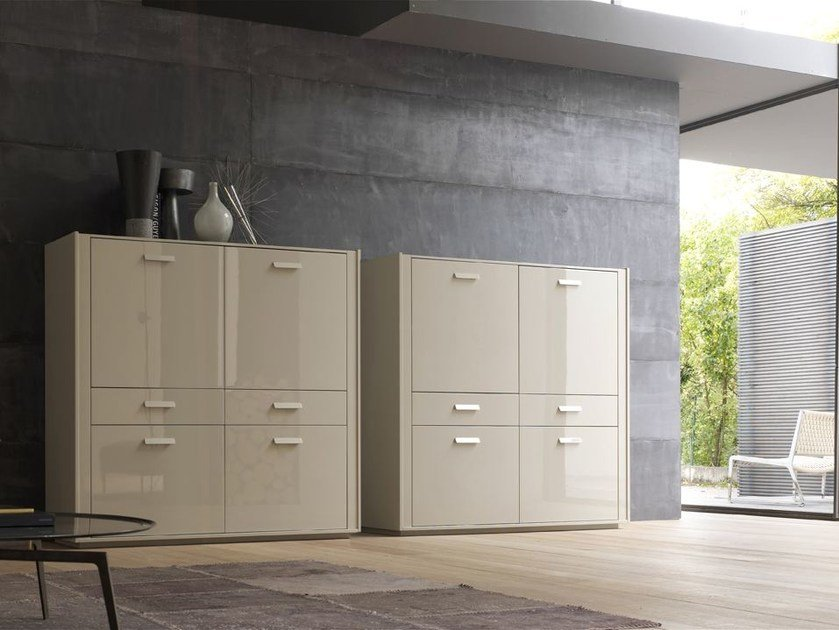 Lacquered highboard with doors with drawers TRATTO | Highboard by ALIVAR
