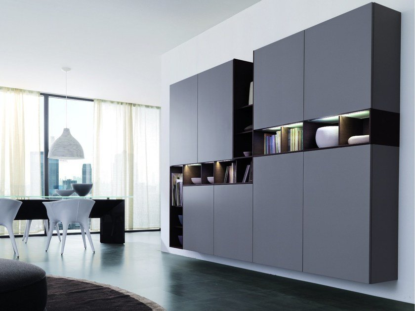 Sectional storage wall UNOEDUE by Euromobil