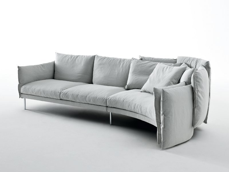 Sectional fabric sofa with removable cover BLACK SWAN by Saba Italia