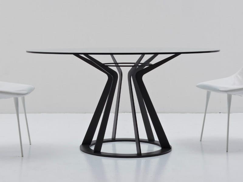 Mesa redonda de cristal MITOS By Nube Italia diseño Giuliano Cappelletti